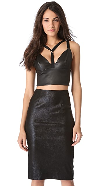 Cushnie Et Ochs Leather Bustier Top