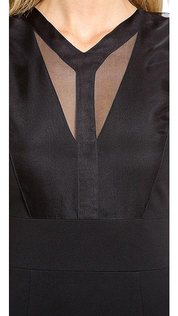 Cushnie Et Ochs Organza Overlay Jersey Dress