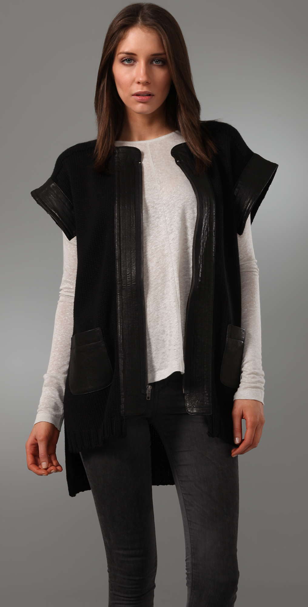 Cut25 by Yigal Azrouel Short Sleeve Cardigan Sweater with Leather ...