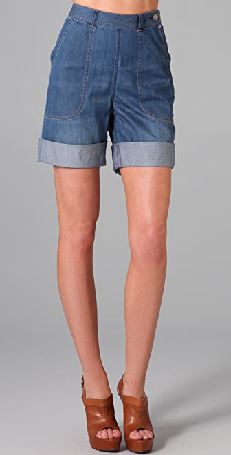 Cut25 by Yigal Azrouel High Waisted Denim Shorts