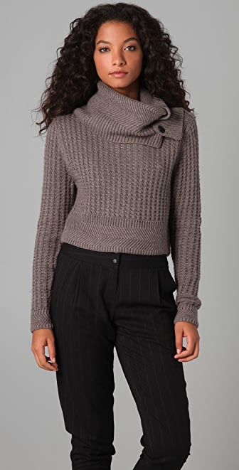 Cut25 by Yigal Azrouel Cropped Turtleneck Sweater