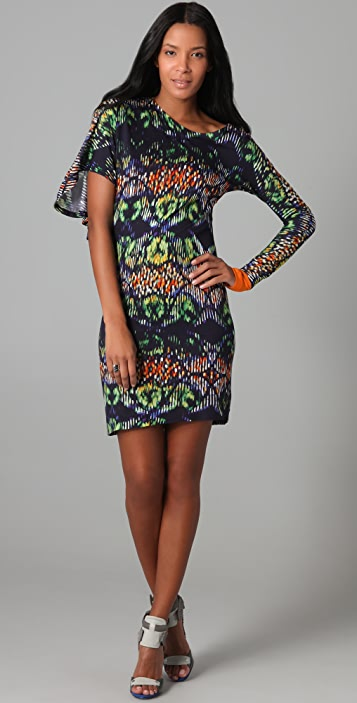 Cut25 by Yigal Azrouel Techno Tribal Print Asymmetrical Dress
