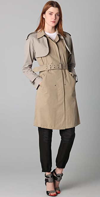 Cut25 by Yigal Azrouel Convertible Trench Coat with Zip Off Capelet