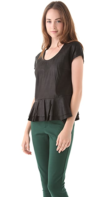 Cut25 by Yigal Azrouel Leather Peplum Top with Knit Back