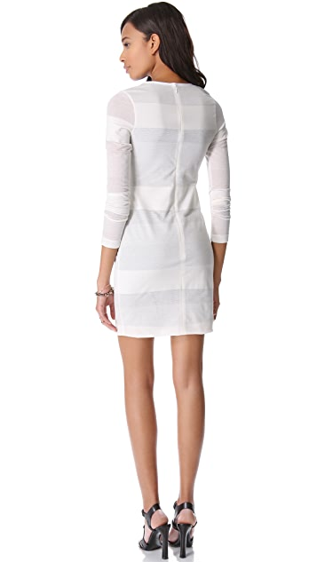Cut25 by Yigal Azrouel Mesh Stripe Dress