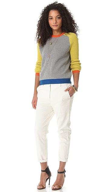 Cut25 by Yigal Azrouel Waffle Knit Block Sweater