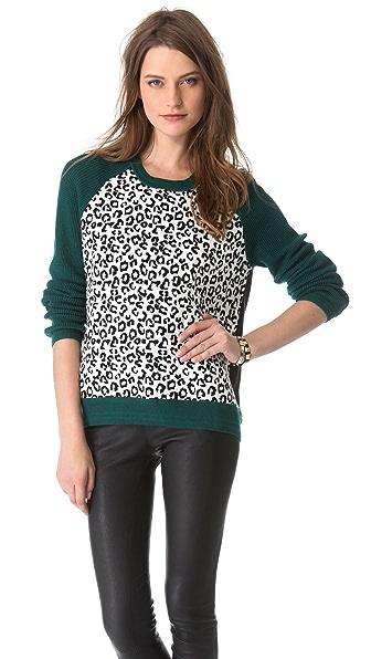Cut25 by Yigal Azrouel Leopard Colorblock Sweater