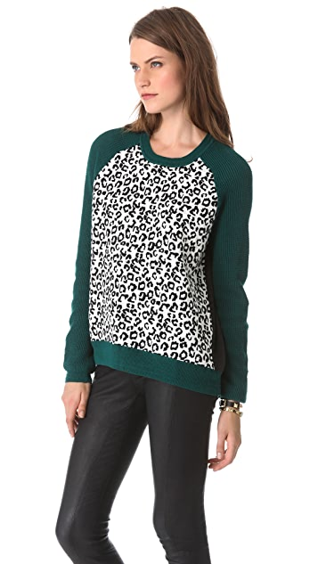 Cut25 by Yigal Azrouel Leopard Colorblock Sweater