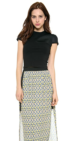 Cut25 by Yigal Azrouel Ponte Crop Top with Mesh