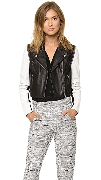 Cut25 by Yigal Azrouel Leather Jacket with Zip Off Sleeves