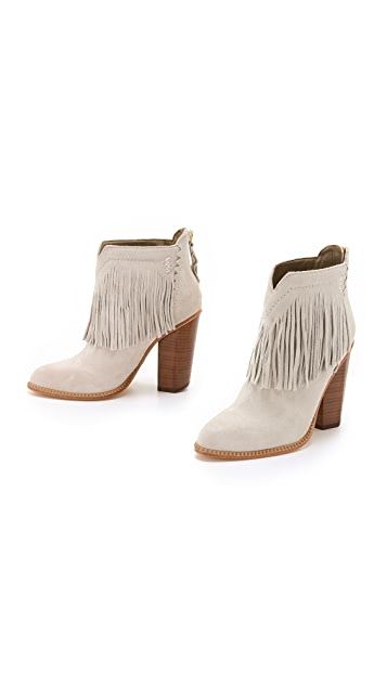 Cynthia Vincent Native Suede Fringe Booties