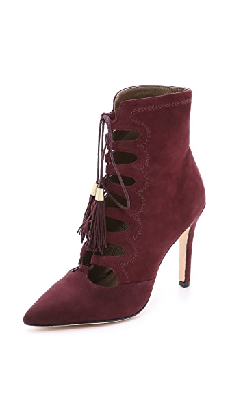Cynthia Vincent Harp Suede Lace Up Booties