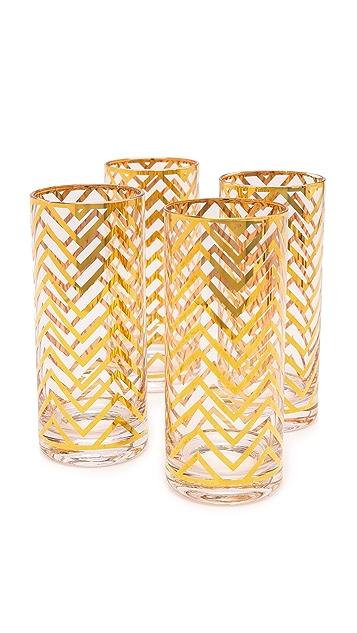 C. Wonder Chevron Tall Drinking Glass Set