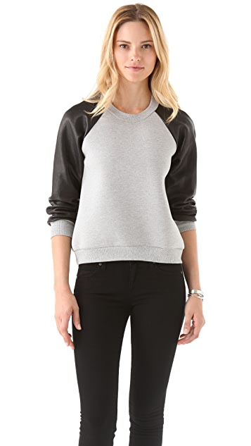 Cynthia Rowley Bonded Pullover with Leather Sleeves