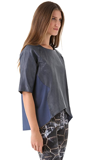 Cynthia Rowley Leather Panel Racing Top