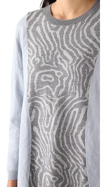 Cynthia Rowley Pieced Wood Grain Sweater