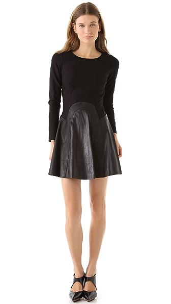 Cynthia Rowley Ponte Dress with Leather