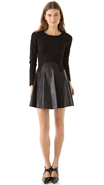 Cynthia Rowley Ponte Dress with Leather