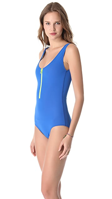 Cynthia Rowley Solid Scuba Zip Swimsuit