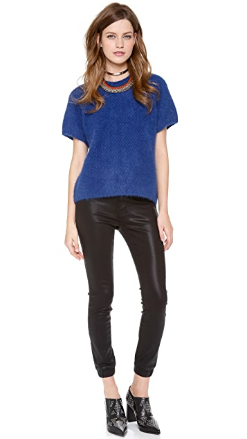 Cynthia Rowley Short Sleeve Angora Sweater