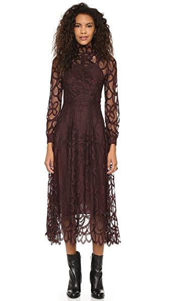 Cynthia Rowley High Neck Lace Dress