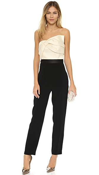 Cynthia Rowley Strapless Jumpsuit With Draped Bow Top - Black/Off White
