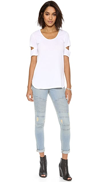 Daftbird Scoop Neck Notched Sleeves Tee