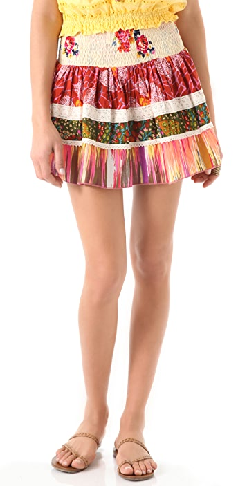 Dallin Chase Mario Patchwork Print Skirt