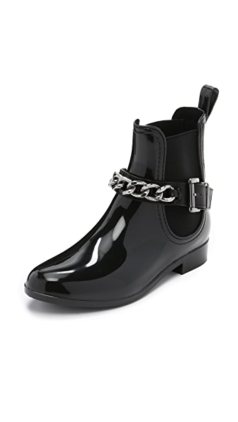 Dav Glasgow Chain Chelsea Booties - Black/Silver