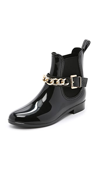 Dav Glasgow Chain Chelsea Booties - Black/Gold