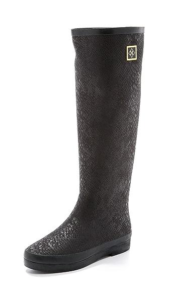Dav Austin Snake Print Tall Boots - Black