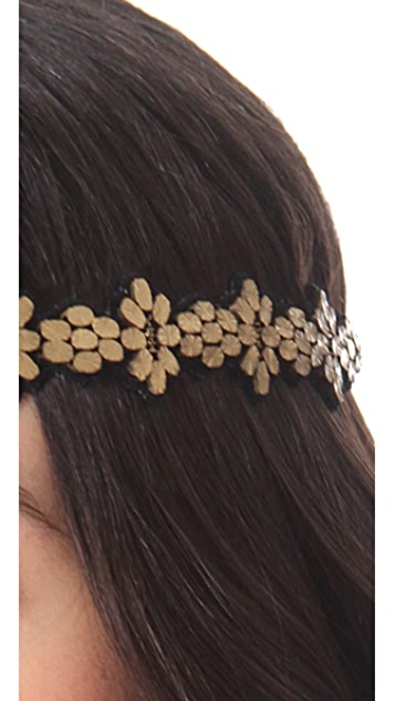 Deepa Gurnani Gold Leaf Headband