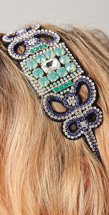 Deepa Gurnani Blue Stone & Crystal Headband