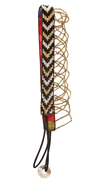 Deepa Gurnani Chain Fringed Chevron Headband