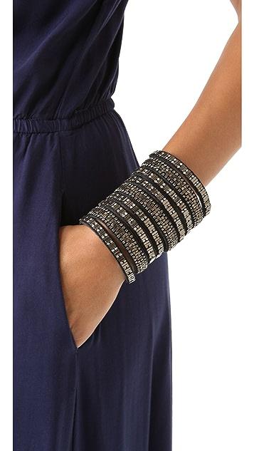 Deepa Gurnani Wide Embellished Leather Cuff