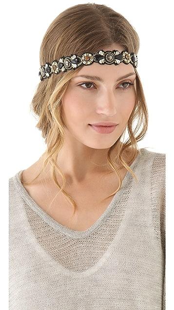 Deepa Gurnani Black Stone & Crystal Embellished Headband