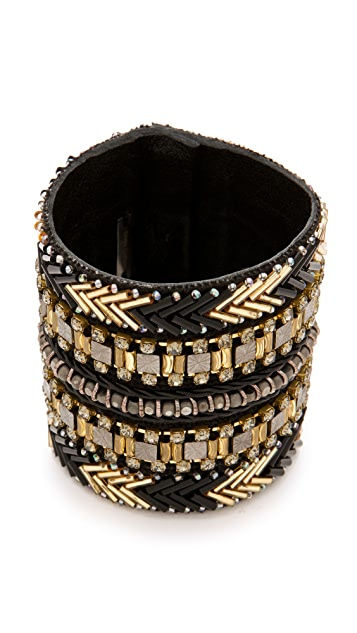 Deepa Gurnani Tribal Metallic Beaded Cuff