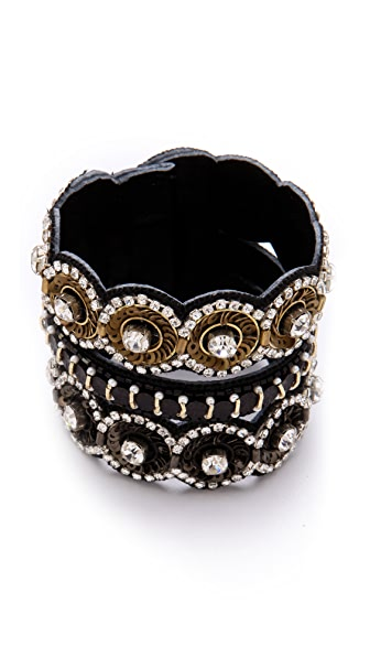Deepa Gurnani Black & Gold Medallion Cuff