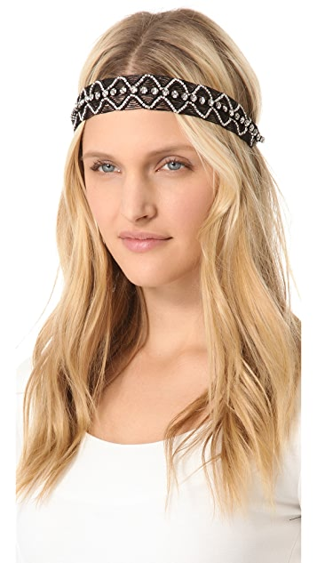 Deepa Gurnani Patterned Rhinestone Headband