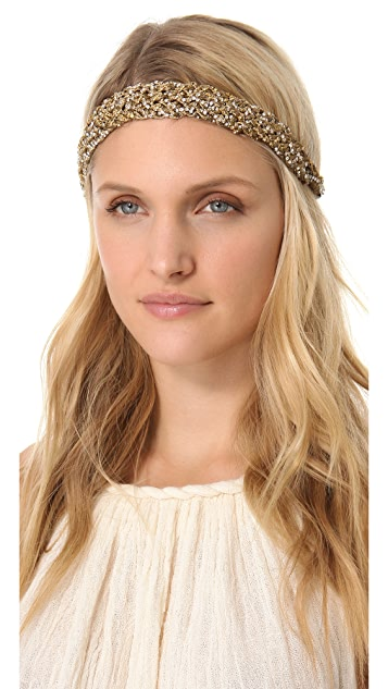 Deepa Gurnani Metallic Woven Headband