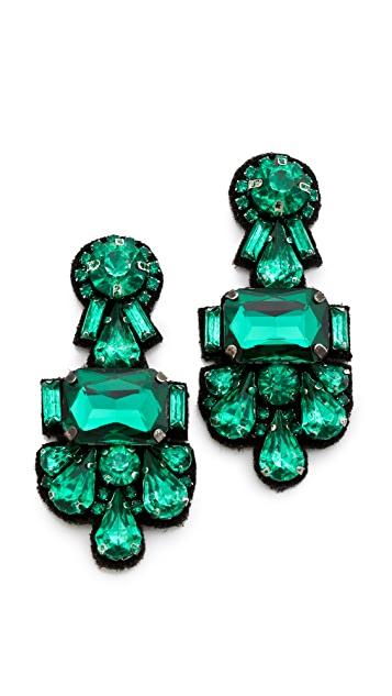 Deepa Gurnani Crystal Cluster Earrings