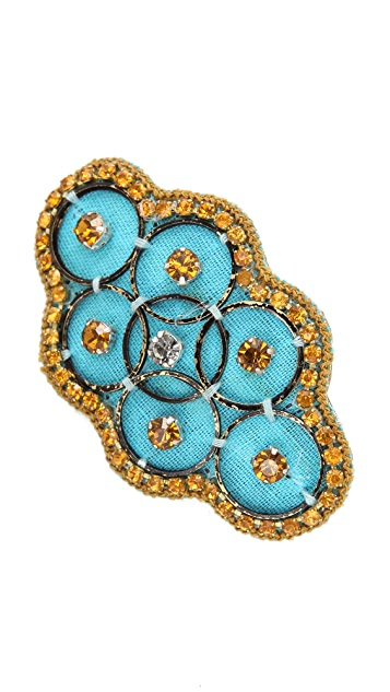 Deepa Gurnani Turquoise & Gold Barrette
