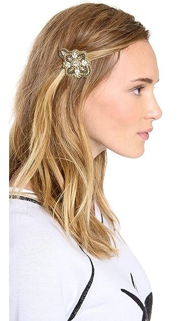 Deepa Gurnani Applique Crystal Flower Hair Clip