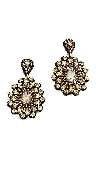 Deepa Gurnani Oversized Crystal Flower Earrings