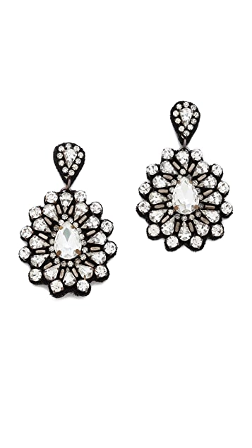 Deepa Gurnani Oversized Crystal Flower Earrings