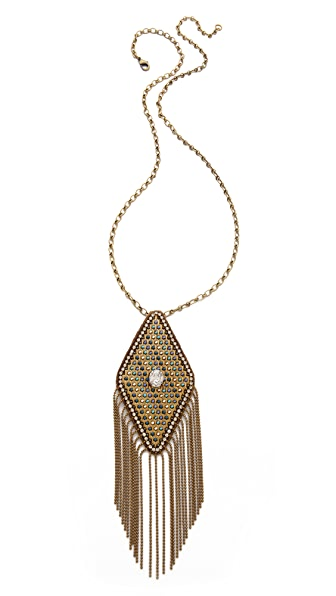 Deepa Gurnani Fringe Pendant Necklace