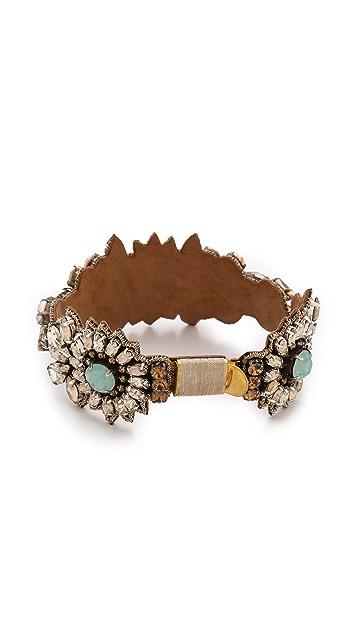 Deepa Gurnani Floral Crystal Cuff Bracelet