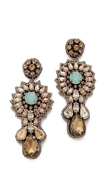 Deepa Gurnani Floral Crystal Earrings