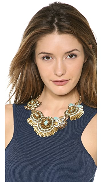 Deepa Gurnani Crystal Statment Bib Necklace
