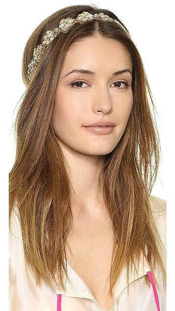 Deepa Gurnani Crystal Leaf Headband
